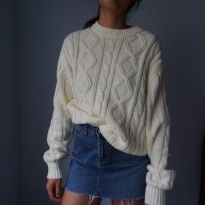 Cream Oversized Chunky Sweater
